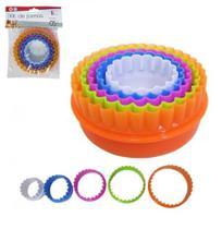Cortador  molde para biscoito de plastico colors kit com 5 pecas - Clink