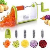 Cortador raladorfatiador espiral para macarrao de vegetais e legumes  com 5 laminas em inox - Makeda