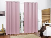 Cortina Blackout de PVC 2,80m x 2,60m Rosa para Varão Simples - Feffo Cortinas
