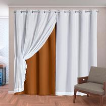 Cortina Blackout em Tecido Class c/ Voil Avelã/Branco Corta Luz 2,80m x 2,30m - Dourados Enxovais