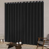 Cortina Blackout para Sala 4,00m x 2,50m Tecido Corta Luz Ilhós Cromado Varão Simples SupriLares -