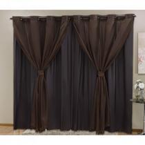 Cortina Blackout PVC com Tecido Voil 4,20 m x 2,50 m - ECasa -