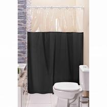 Cortina Box para Banheiro PVC Antimofo Preta 1,40 x 1,98 cm com Ilhós para Varão 1,20 Metros - Eddi Cortinas
