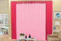 Cortina Claudia 2m para varão simples - Pink/Rosa - Brastuk