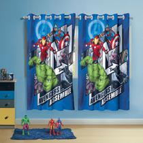 Cortina com ilhos Infantil Estampada Avengers 1,50 m x 1,80 m Com 2 pecas - Lepper