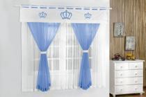 Cortina Coroa Real 2,00m x 1,70m Azul Turquesa Quarto Menino Para Varão Duplo - Guga Tapetes