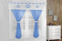 Cortina De Quarto Coroa Azul Turquesa - Guga tapetes