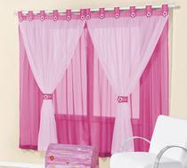 Cortina de voal 2,00 x 1,70 m p/ quarto de menina ou bebê na cor pink / rosa  juvenil - Rose Jordão cortinas