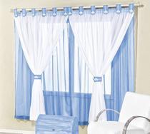 Cortina de voal 2,00 x 1,70 m p/ quarto de menino, menina ou bebê na cor azul bebê / branco juvenil - Rose Jordão cortinas