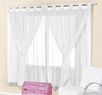 Cortina de voal 2,00 x 1,70 m p/ quarto de menino, menina ou bebê na cor branca  juvenil - Rose Jordão cortinas