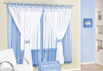 Cortina de Voal quarto bebê 2,00 x 1,70 Juvenil COR: Azul - EMPÓRIO DO LAR
