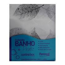 Cortina Estampada Pano Sul Para Box De Banheiro Peva Folhas Seca 1,80x1,80m + 12 Ganchos Branca -
