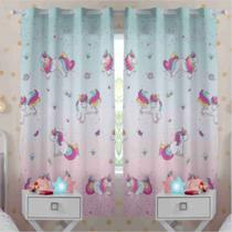 Cortina Infantil Estampada Magic Unicórnio forro Blackout 2,00 x 1,80 Santista
