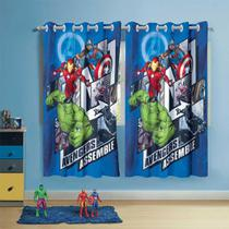 cortina infantil menino lepper com ilhós avengers com 2 peças -