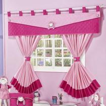 Cortina infantil para quarto de menina pink com rosa de 2 metros - Nosso Lar Enxovais