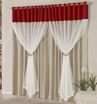 Cortina Londres 2,00m x 1,70m Vermelha Tecido Voal Com Pingentes Sala Quarto - Decorativa
