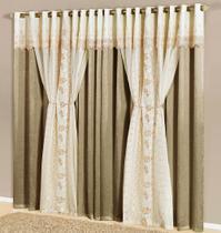 Cortina Nuance 3,00m x 2,50m Prata Tecido Seda com Voal Trabalhado Floral Luxo - Decorativa