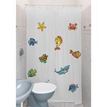 Cortina para Banheiro Box Clean 1,4m - Tecido PVC - Com Kit Para Instalação - Peixe 02 - Estampa 02 - Global
