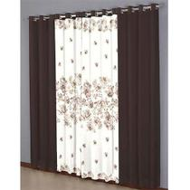 Cortina Para Sala/Quarto Horto Realce Top 3,00mx2,50 Sultan Chocolate