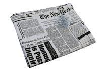 Cortina para Varão Comércio Tecido Brim 3,20x1,90 Roupa Estampada Jornal Preto Trocador Provador - Luci Comércio