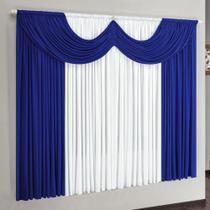 Cortina Riviera 2,00m x 1,70m para Varão Simples - Azul/Branco - Borda Bordados