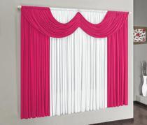 Cortina Riviera 2,00m x 1,70m para Varão Simples - Pink/Branco - Borda Bordados