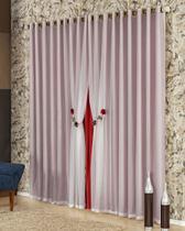 Cortina Romênia 3,00m x 2,70m Vermelha Tecido Microfibra Com Voal Pingentes - Decorativa