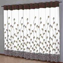 Cortina Sala 220 x 240 Estampada Folhas Chocolate - Sultan