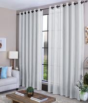 Cortina sala quarto 3,00 x 2,70 com ilhós - tecido branca - Casa