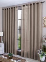 Cortina sala quarto 3,00 x 2,70 com ilhós - tecido marrom claro - Casa