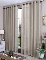 Cortina sala quarto 3,00 x 2,70 com ilhós - tecido palha - Casa