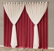 Cortina Sara 2,00m x 1,70m Vermelho Tecido Seda com Voal Para Sala ou Quarto - Decorativa