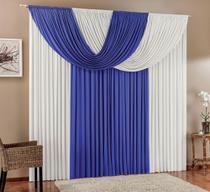 Cortina Suellen 2,00m x 1,70m Azul Branco Tecido Malha Moderna Para Sala Quarto - Brastuk
