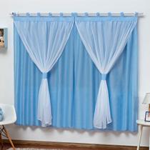Cortina Varão Simples Quarto de Bebê Menino Azul 2,00mX1,70m - L2M