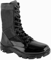 Coturno Tático Militar, Couro E Lona Preta, C/ Zíper, Extra Leve. - Force Militar