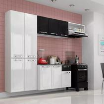 Cozinha Aço Compacta Amanda C/ Tampo - Branca e Preto - Itatiaia