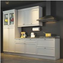Cozinha Americana Compacta com Balcão Paneleiro e Tampo 4 Peças Nesher Móveis Branco -