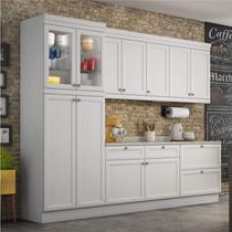 Cozinha Americana Completa com Balcão e Tampo 5 Peças Nesher Móveis Branco -