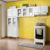 Cozinha Bertolini Aço Múltipla 3 Peças (Armário Baixo+Armário Triplo c/vidro + Panelerio Duplo c/vidro) Branco CZM 04590 - Bertolini Móveis