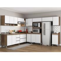 Cozinha Canto Modulada Sabrina 10 Peças 14 Portas 05 Gv 252/294x195x52 Avelã/Branco TX SAB10 - MENU - Menu Móveis