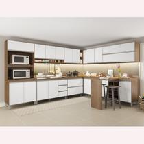 Cozinha Canto Modulada Sabrina 12 Peças 18 Portas 05 Gavetas 332/254x195x52 Avelã/Branco TX - Soluzione - A04S -