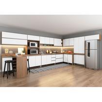 Cozinha Canto Modulada Sabrina 14 Peças 23 Portas 05 Gv 452/294x195x52 Avelã/Branco TX SAB14 - MENU - MenuMóveis