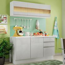 Cozinha Compacta 100% MDF Madesa Smart 120 cm Modulada Com Balcão e Tampo - Frentes Branco Brilho -