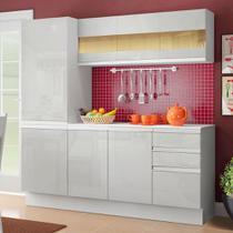 Cozinha Compacta 100% MDF Madesa Smart 170 cm Modulada Armário, Balcão e Tampo Frentes Branco Brilho -