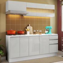 Cozinha Compacta 100% MDF Madesa Smart 180 cm Modulada Com Balcão e Tampo - Frentes Branco Brilho -