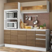 Cozinha Compacta 100% MDF Madesa Smart 190 cm Com Armário, Balcão e Tampo -