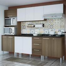 Cozinha Compacta 11 Portas 3 Gavetas Bianca 0430t Castanho/Branco - Genialflex moveis