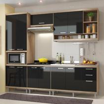 Cozinha Compacta 11 Portas Com Balcão Sem Pia 5808 Preto/Argila - Multi móveis