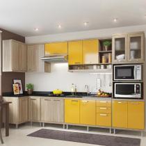 Cozinha Compacta 15 Portas 3 Gavetas para Pia 5830 Amarelo/Argila - Multimóveis