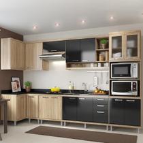 Cozinha Compacta 15 Portas 3 Gavetas para Pia 5830 Preto/Argila - Multimóveis
